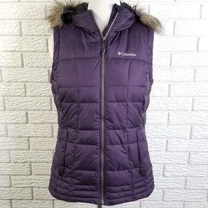 Columbia Hooded Puffer Vest L Purple Faux Fur
